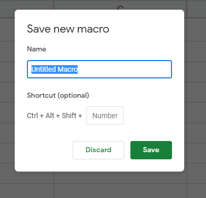 Save new macro tab open on Google Sheets