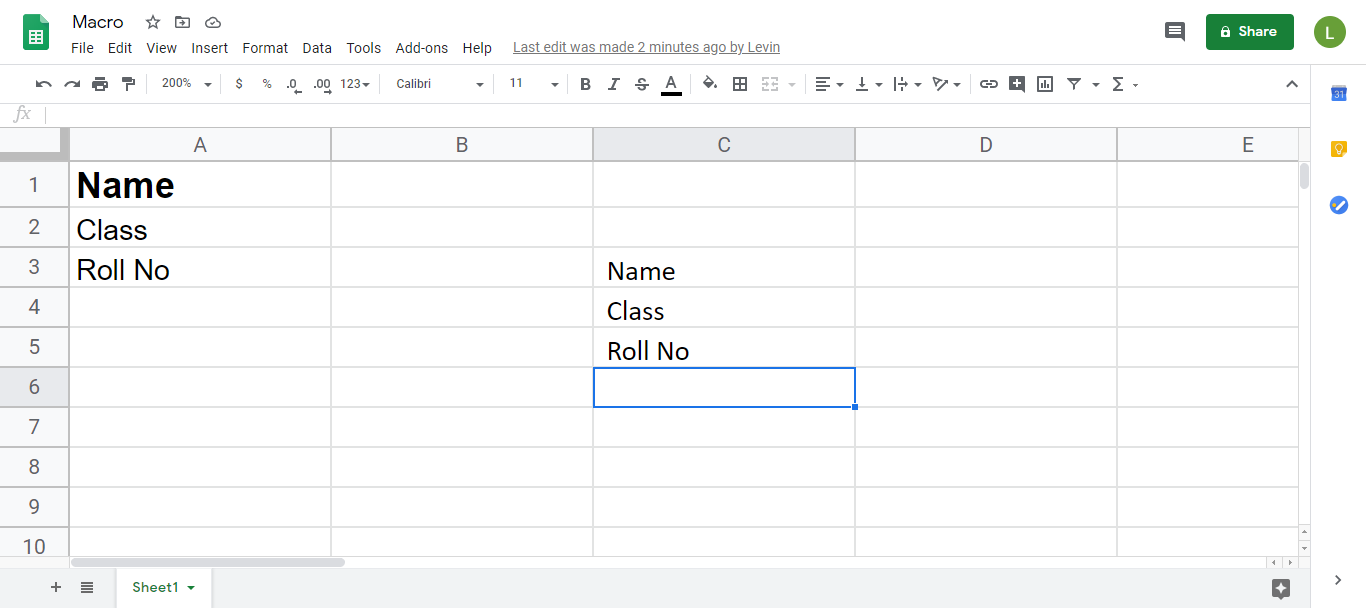 Macro Google Sheet with Name header and data underneath as well as duplicate cells below and to the right