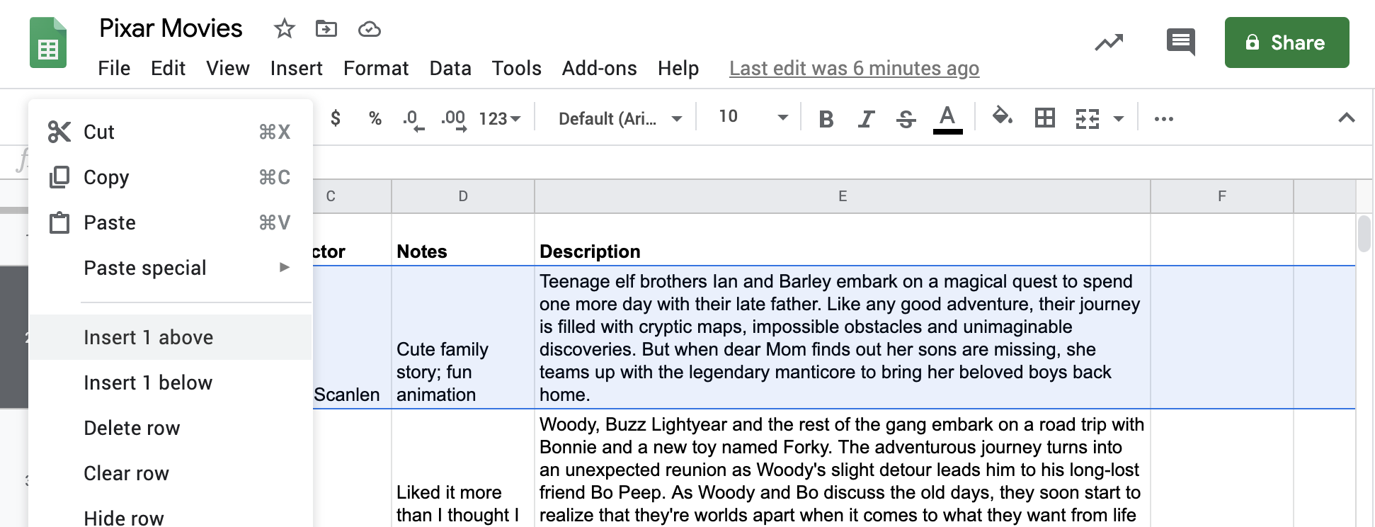 """Spreadsheet named """"Pixar Movies"""" with movies and information in corresponding columns. Row 2 is selected and right-click menu is open with Insert 1 above highlighted"""