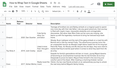 "Spreadsheet named ""How to Wrap Text in Google Sheets"" with miscellaneous rows of information below and some wrapped text"