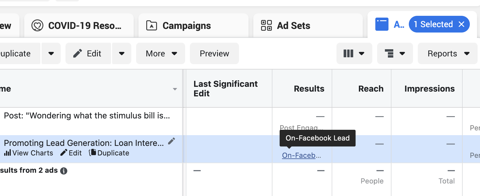 "Facebook ad manager dashboard with the Ad tab selected and the cursor hovering over the ""On-Facebook Lead"" link"