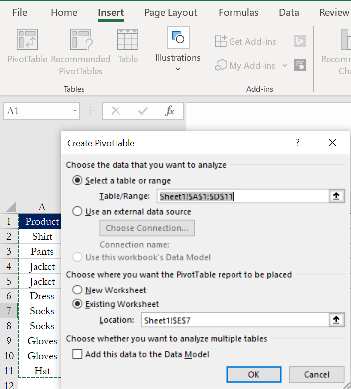 """""""Create PivotTable"""" menu pop-up on Excel with selected settings, as listed abo"""