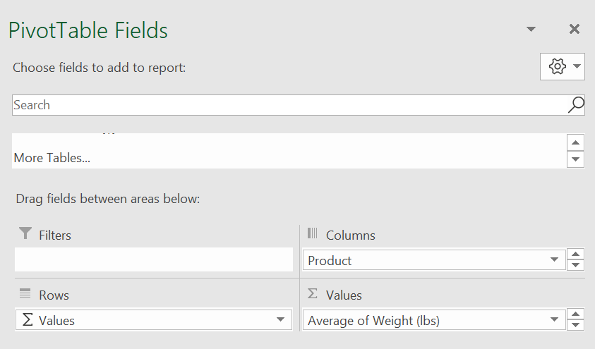 """""""PivotTable Fields"""" box on Excel with options to add fields, filters, rows, columns, and values"""