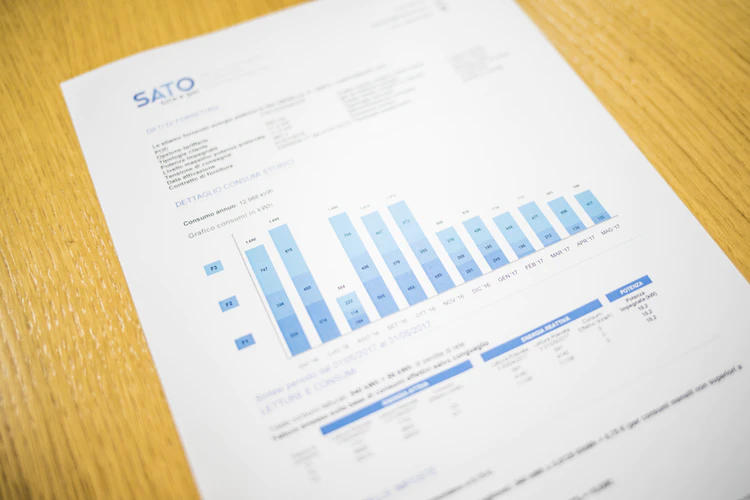 Blurry company report with graphs, tables, and other figures