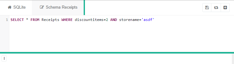 """SQLite dashboard featuring code """"SELECT * FROM Receipts WHERE discountitems=2 AND storename='asdf'"""""""