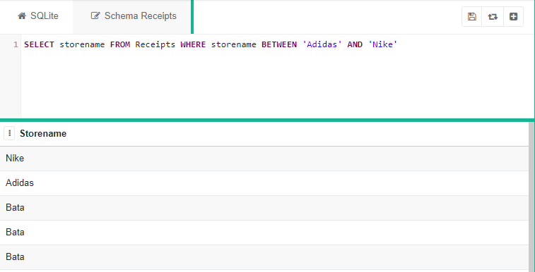 """SQLite program with the code """"SELECT storename FROM Receipts WHERE storename BETWEEN 'Adidas' AND 'Nike'"""" with table of Storename underneath"""