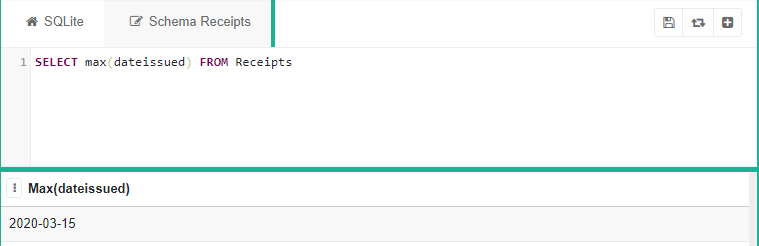 """SQLite program with the code """"SELECT max(dateissued) FROM Receipts"""" with table of latest dateissued"""