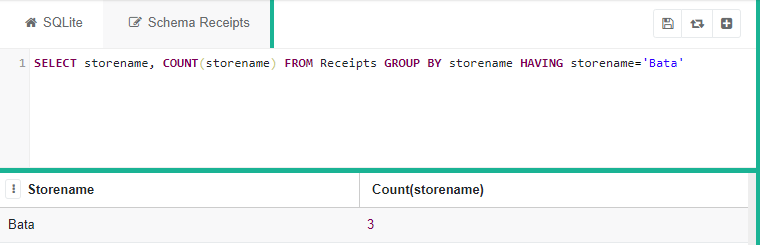 """SQLite program with the code """"SELECT storename, COUNT(storename) FROM Reciepts GROUP BY storename HAVING storename='Bata'"""" with a table of storename and count of storename for Bata underneath"""