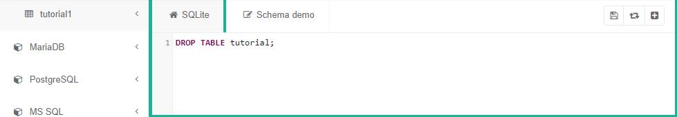 "SQLite code saying ""DROP TABLE tutorial;"""