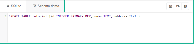 "SQLite code saying ""CREATE TABLE tutorial (id INTEGER PRIMARY KEY, name TEXT, address TEXT)"