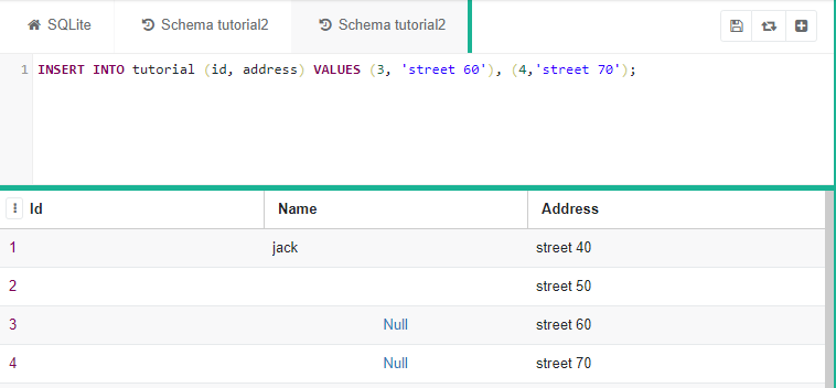 "SQLite code saying ""INSERT INTO tutorial (id, address) VALUES (3,  'street 60'), (4,  'street 70')"""