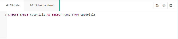 "SQLite code saying ""CREATE TABLE tutorial1 AS SELECT name FROM tutorial;"""
