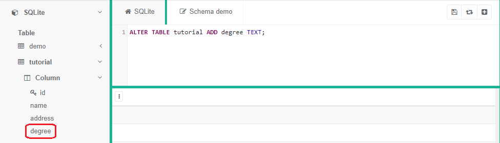 "SQLite code saying ""ALTER TABLE tutorial ADD degree TEXT;"" with degree highlighted in the sidebar"