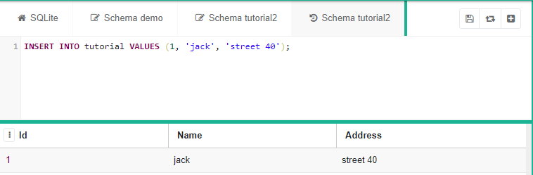 "SQLite code saying ""INSERT INTO tutorial (id, address) VALUES (1, 'jack', 'street 40')"""