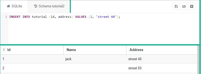 "SQLite code saying ""INSERT INTO tutorial (id, address) VALUES (2, 'street 40')"""