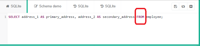 FROM statement highlighted in red for a SQL query