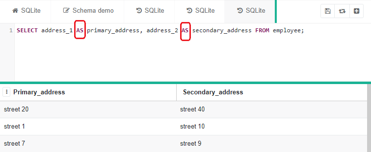 """SELECT statement with """"AS"""" keywords highlighted in red"""