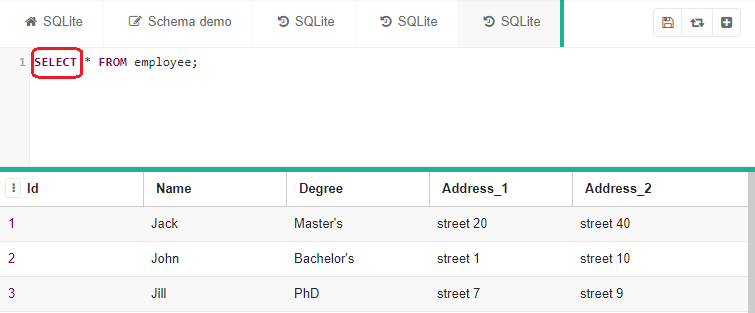 SELECT * statement with the corresponding columns created