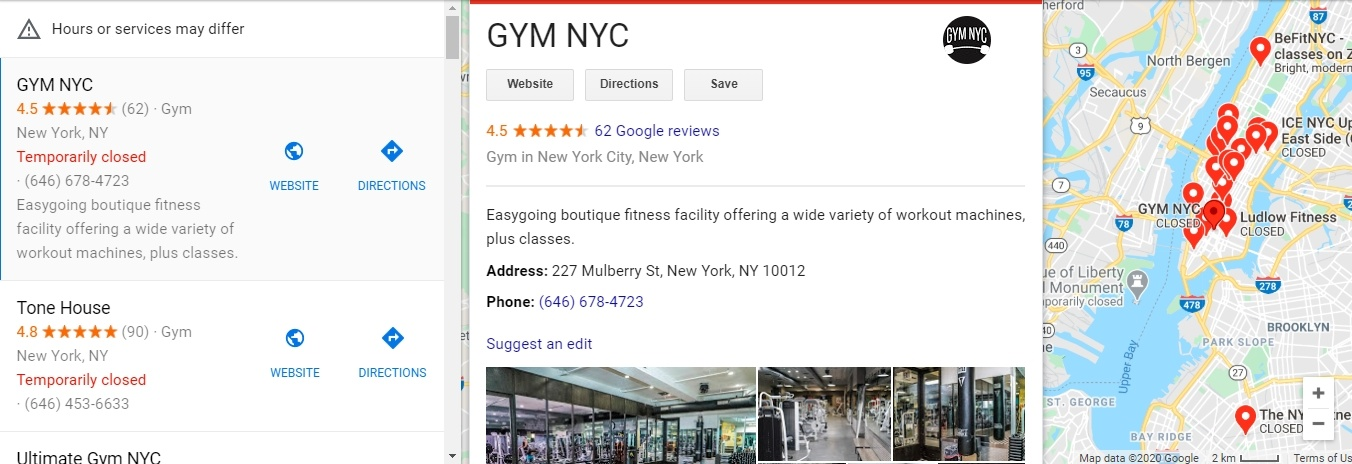 Google Maps listing for GYM NYC, features rating, description, and map