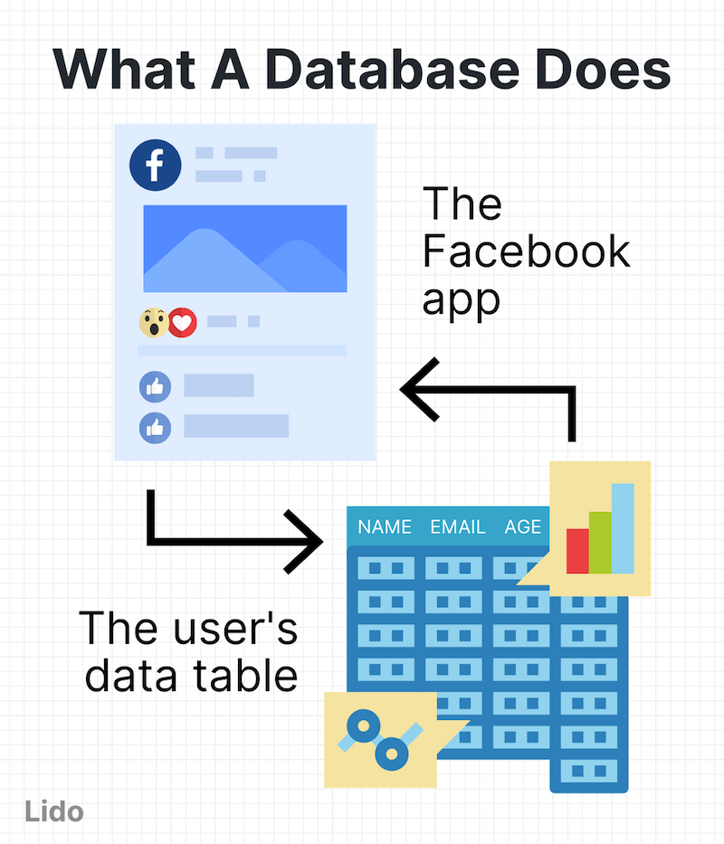 "Graphic showing flow between Facebook and spreadsheets labeled ""What a database does"""