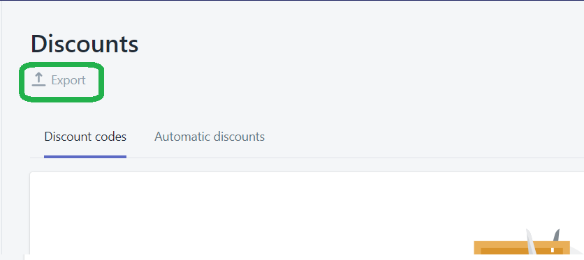 Discount codes list page. Export button highlighted.