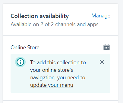 Collection availability has link to update menu to include the collection