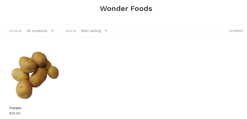 Wonder Foods collection page.
