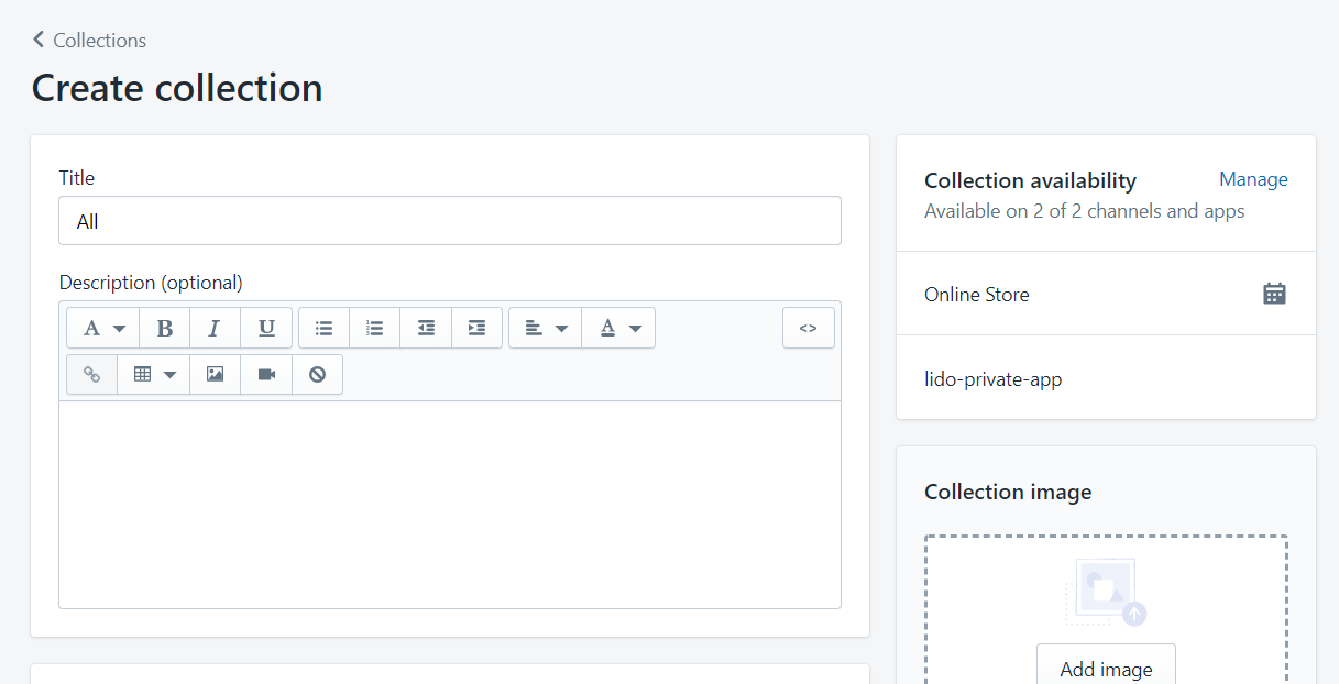 Create collection. Title and Description