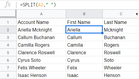 Column split to two using SPLIT() function. The original column is not replaced.