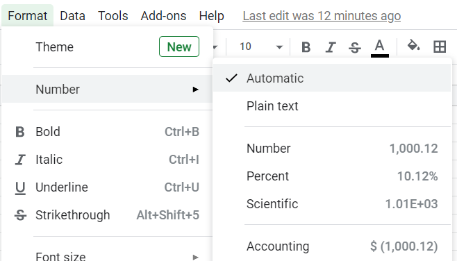 Built-in number formats in Google Sheets