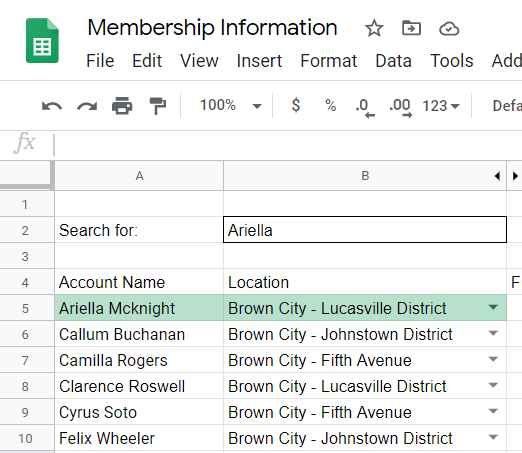 Row highlighted with search item