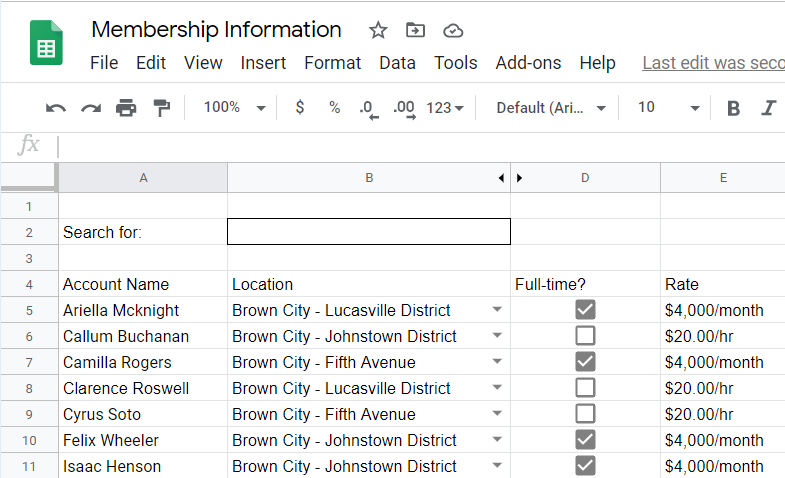 Crude search bar inserted above the spreadsheet