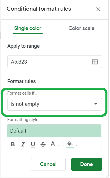 Conditional format rules, Format cells if highlighted