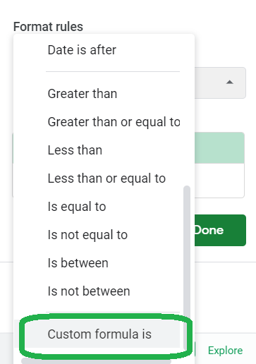 Drop-down box, Custom formula is highlighted