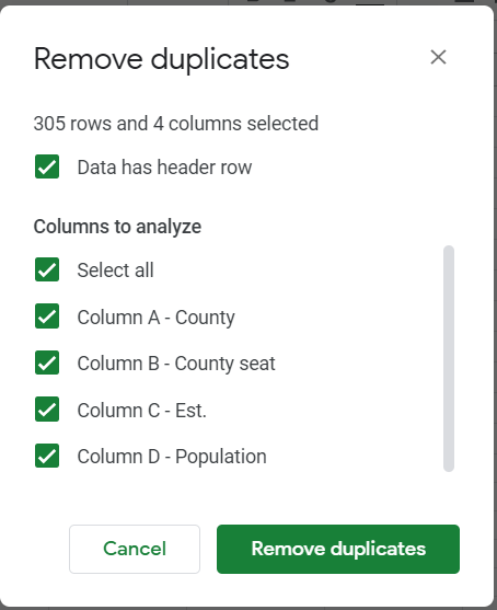 Remove duplicates window. Data has header row selected. All columns to analyze selected.