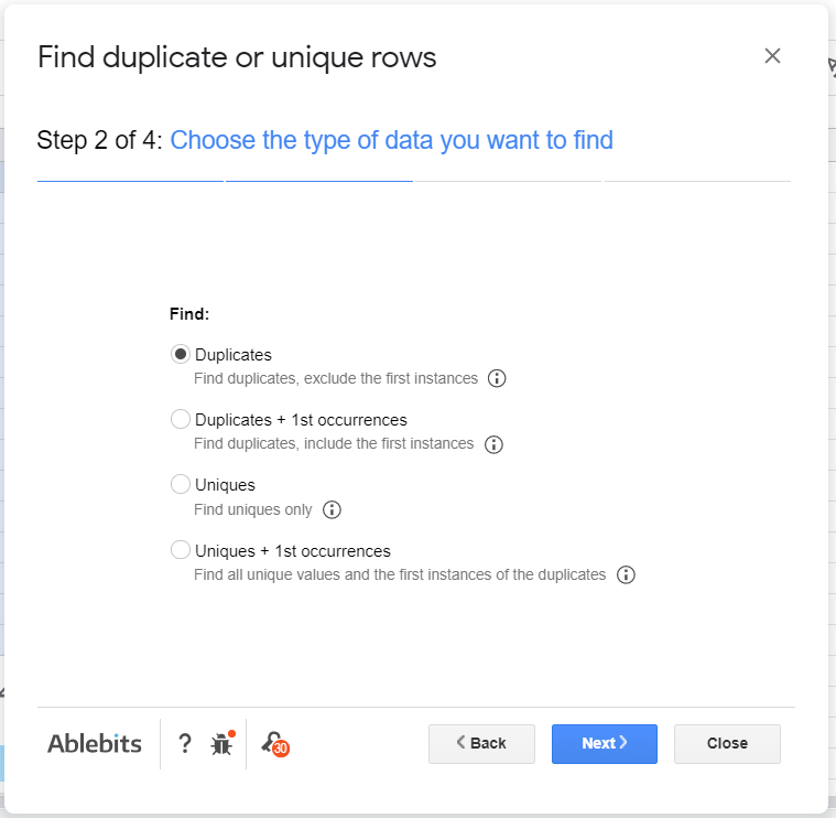 FInd duplicates selected