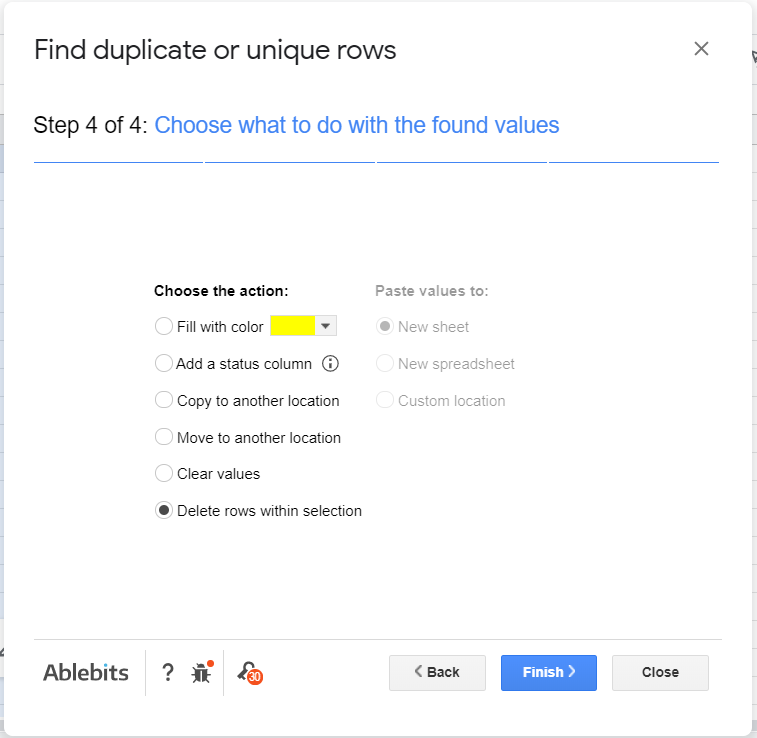 Delete rows within selection selected