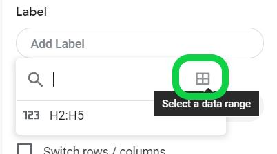 Chart editor, Setup tab, Label, drop-down box, Select a data range symbol highlighted