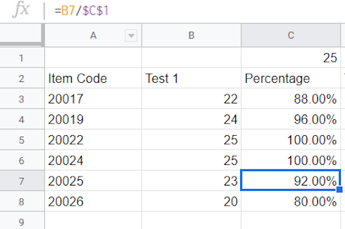 A table with values, percentage column empty