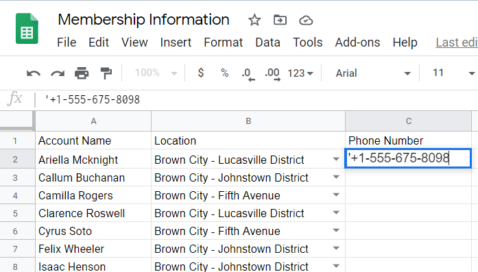 Phone number with a single quote appended before it