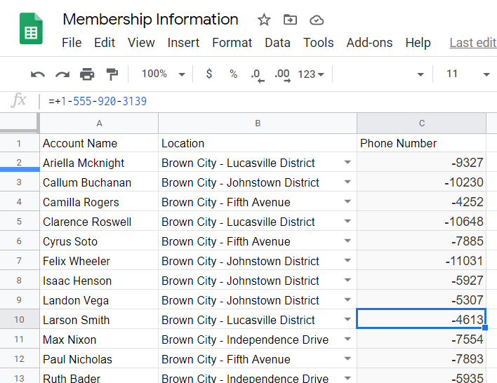 Phone numbers converted to arithmetic operation by Google Sheets