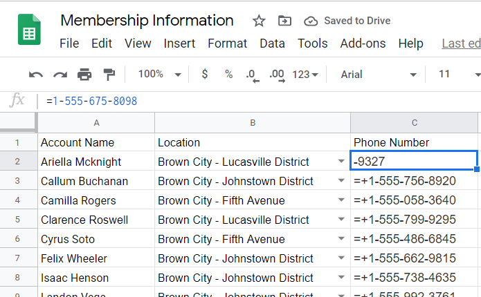 Google Sheets still calculated the phone number as arithmetic operation even in plain number