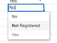 No, Not Registered, and Yes as options in the drop-down box