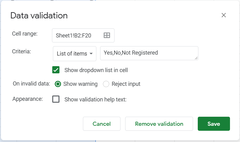 Data validation window but with additional Not Registered option added