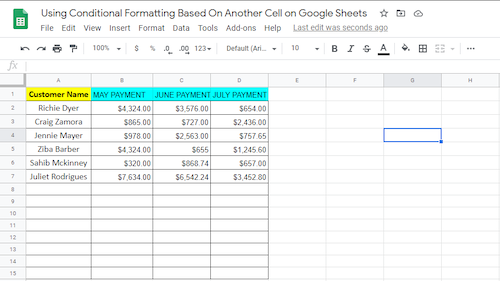 """Google Sheet titled """"Using Conditional Formatting Based On..."""" with a table of Customer Name and corresponding payments for months May, June, and July"""