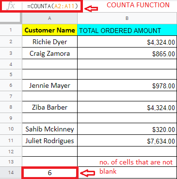 Same table as above, but now with a circled cell counting the non-blank cells in Column A and the function circled