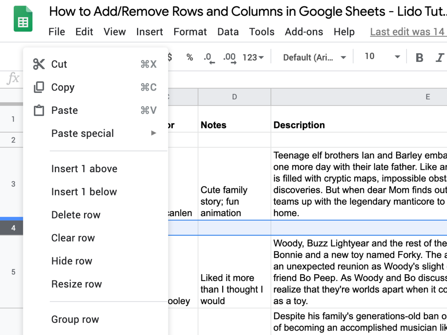 "Google Sheet entitled ""How to Add/Remove Rows and Columns..."" with a blank row selected and the right-click menu open"