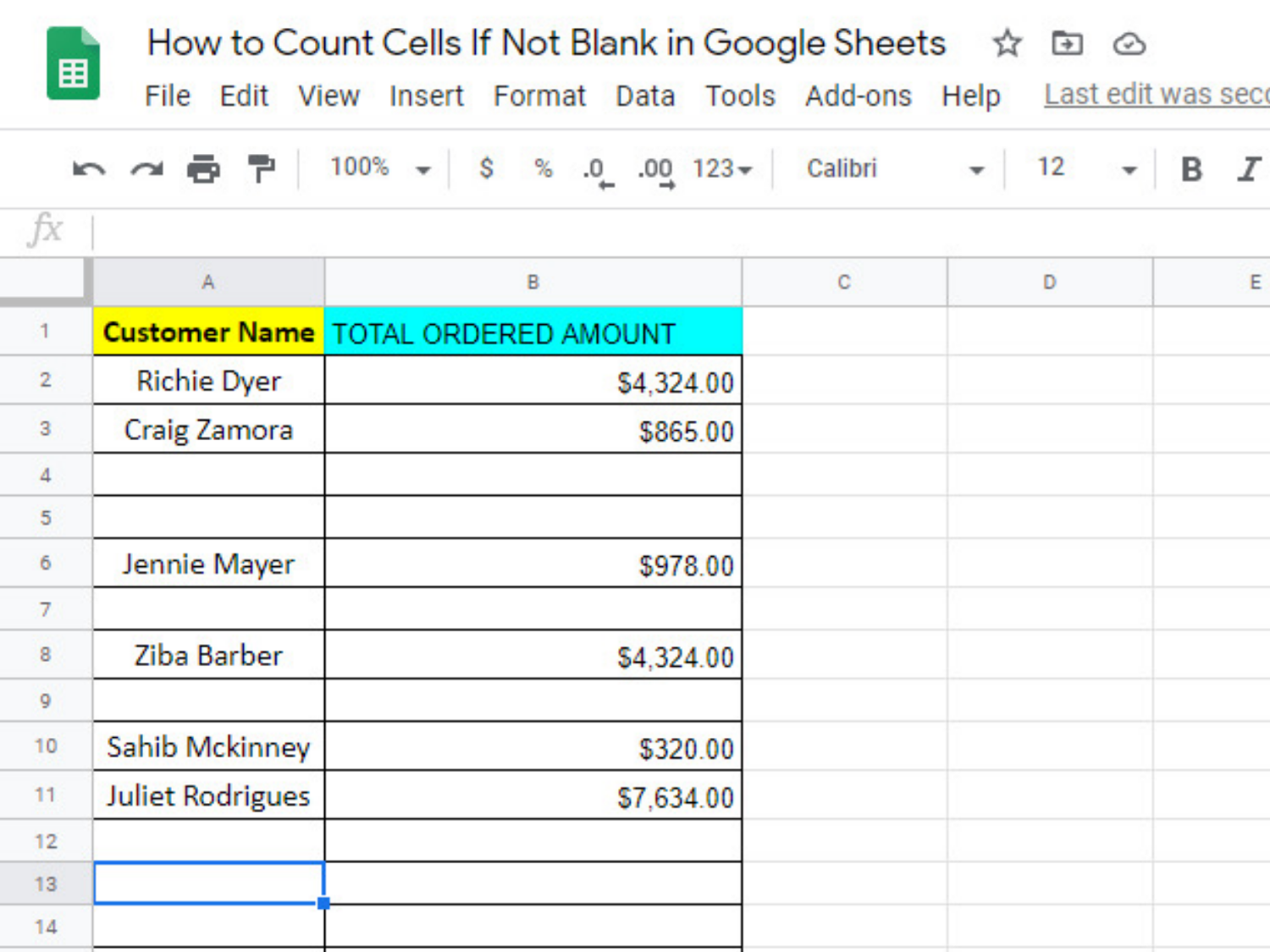 "Spreadsheet named ""How to Count Cells If Not Blank in Google Sheets"" with data below containing various blank and non-blank cells"
