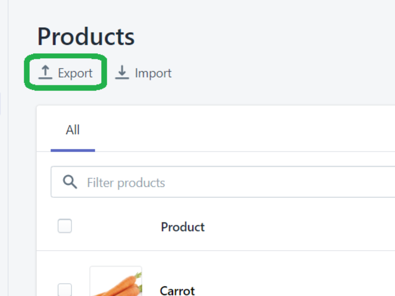 Product list page. Export button highlighted
