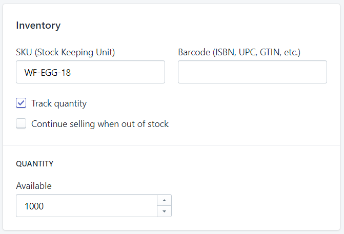 Inventory code and quantities available.